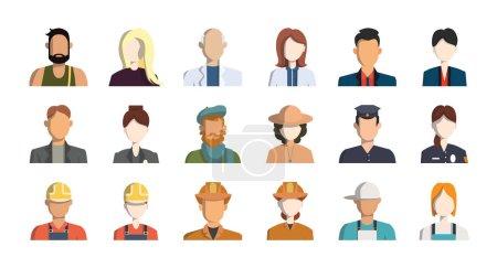 Photo pour Professions isolées icônes avatar sur fond blanc . - image libre de droit