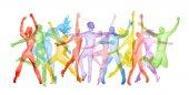 Sada akvarel tanec