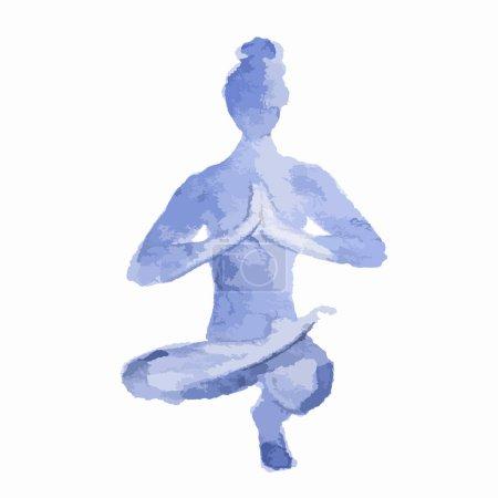 Watercolor yoga pose.