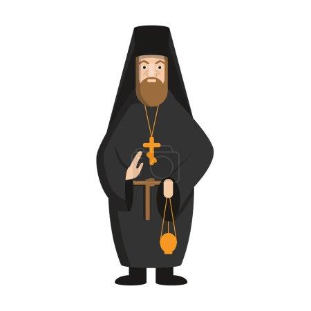 Illustration pour Isolé pape russe debout sur fond blanc. Concept d'église orthodoxe . - image libre de droit