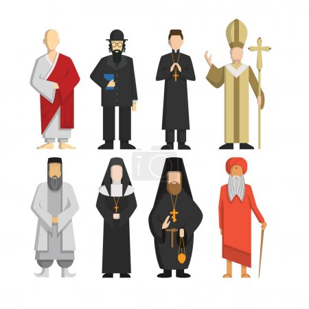 Illustration pour Définir les représentants religieux. Pape et prêtre, rabbin et moine et autres. Culture religieuse . - image libre de droit