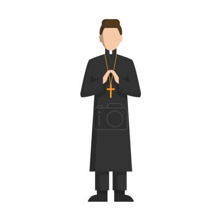 Illustration pour Prêtre catholique isolé debout sur fond blanc. COncept de l'église catholique . - image libre de droit