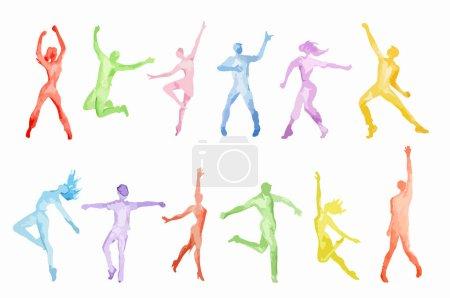 Watercolor dance set on white background. Dance po...