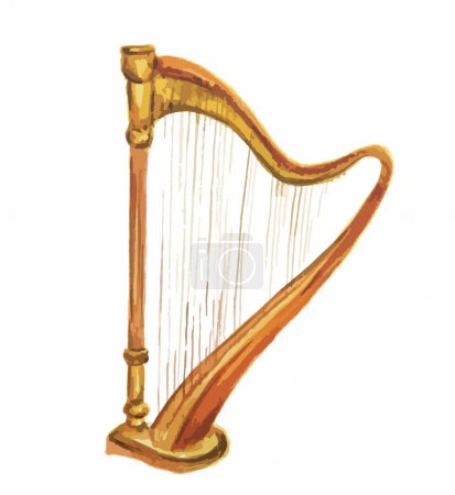 Isolated watercolor harp.