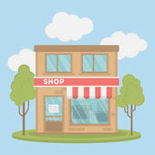 Isolated clothing store Storefront with sign of sales and credit card Concept of shopping