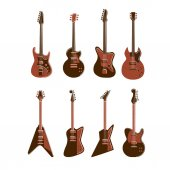 Electric guitars set on white background All kinds of guitars like Les Paul stratocaster telecaster explorer and others