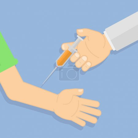 Illustration pour Médecin faisant la vaccination. Main avec seringue. Concept de soins de santé, traitement médical . - image libre de droit