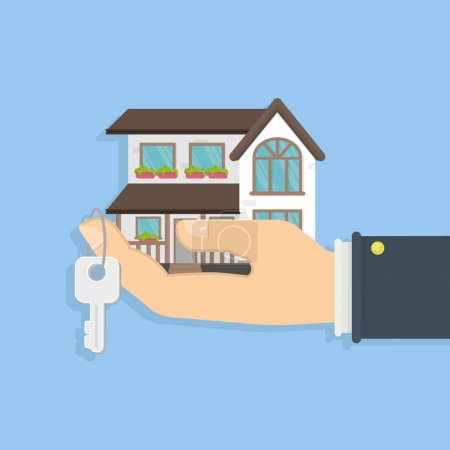Illustration for Buying or selling a house. Hand holding keys and a small house. Concept of real estate. Big villa. - Royalty Free Image