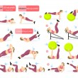 Abs exercises set for fat girl on white background...