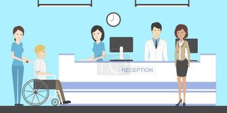 Reception in hospital.