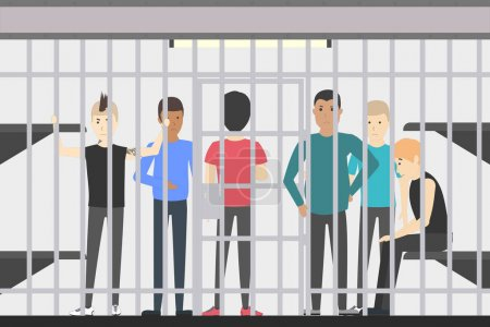 People in jail in police station. Dangerous prison...