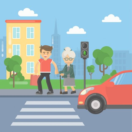 Illustration for Helping old lady. Man helps an old lady to cross the road and held the bags. - Royalty Free Image