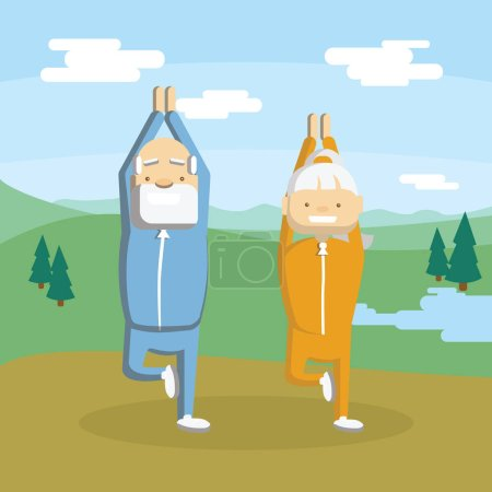 Old couple meditates.