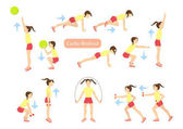 Exercises for kids set Workout for girls Cardio exercises with weights jumping rope and ball Healthy lifestyle for children
