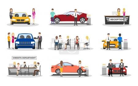 Illustration pour Salle d'exposition automobile sur fond blanc. Voitures, vendeurs et visiteurs . - image libre de droit