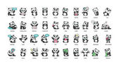cute panda stickers collection in different poses different moods