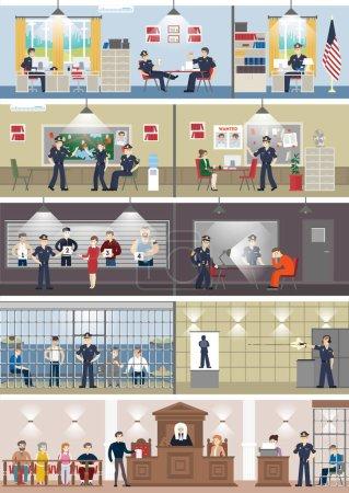 Illustration pour Poste de police intérieur avec chambres. Salle de bureau, salle d'interrogatoire des témoins, cellule pénitentiaire et réception . - image libre de droit