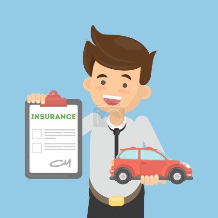 Illustration pour L'homme montre une assurance auto. Garçon heureux tient voiture et document . - image libre de droit