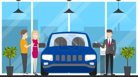 Illustration pour Intérieur du showroom automobile. Voiture, vendeur et visiteur - image libre de droit