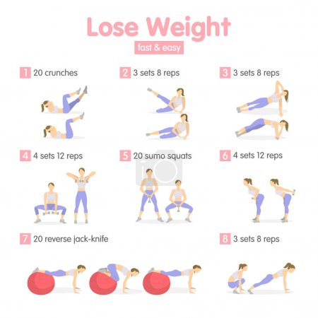 Illustration for Weight loss training for women with equipment. - Royalty Free Image