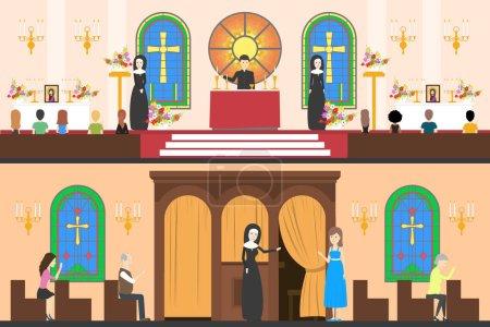 Zestaw wystroju wnętrza kościoła.