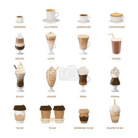 Illustration pour Menu café sur fond blanc. Tous les types de boissons au café comme latte, raf et plus . - image libre de droit