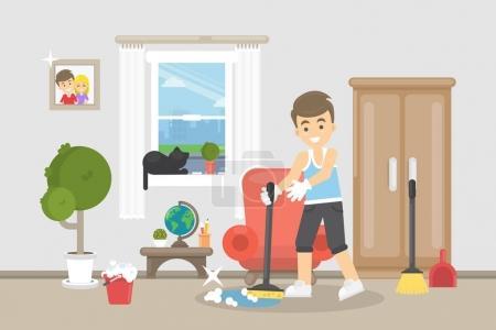 Illustration pour Illustration de nettoyage. Heureux homme souriant faire le nettoyage dans la chambre . - image libre de droit