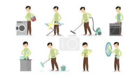 Illustration pour Homme faisant des tâches ménagères sur fond blanc. Nettoyage et repassage, cuisson et aspirateur . - image libre de droit
