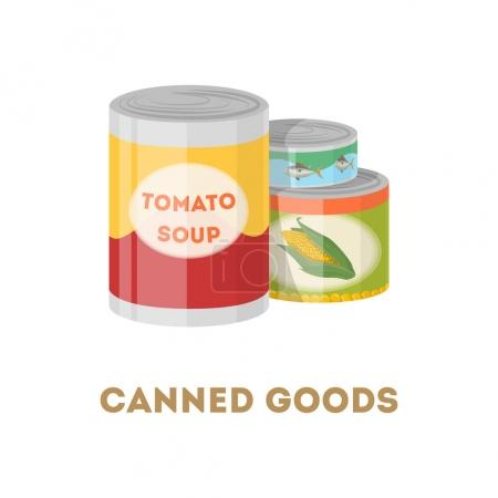 Illustration for Canned goods set on white background. Tomato soup, corn and tuna fish. - Royalty Free Image
