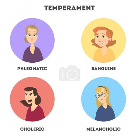 Types of temperaments. Sanguine and choleric, phle...