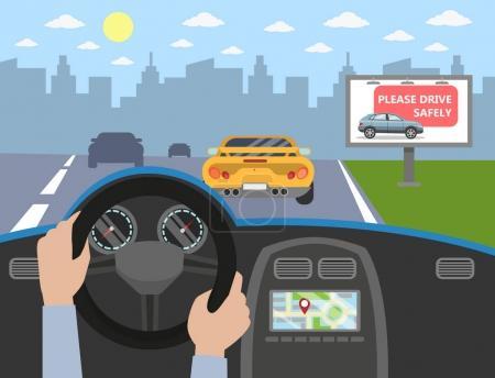 Illustration pour Dans la voiture. Pilotes mains sur la roue. Signe sur la route . - image libre de droit