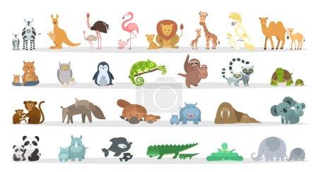Illustration pour Ensemble familles d'animaux. Animaux de bande dessinée avec bébés . - image libre de droit