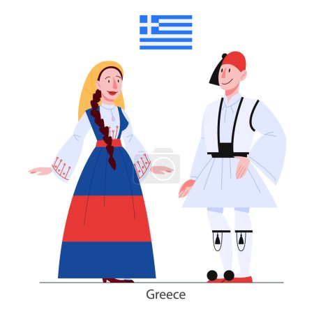 Photo for Vector illustration of Greece citizen in national costume with a flag. Man and woman in traditional clothes. Male and female wearing ethnic dress. Vector flat illustration. - Royalty Free Image