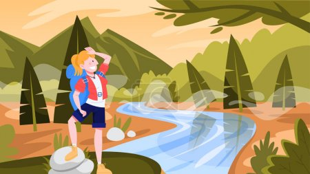 Photo for Woman travel with the backpack. Hiker on a trip. Idea of journey and tourism, summer holiday. Person hiking, surounded by nature. Vector illustration in flat style - Royalty Free Image