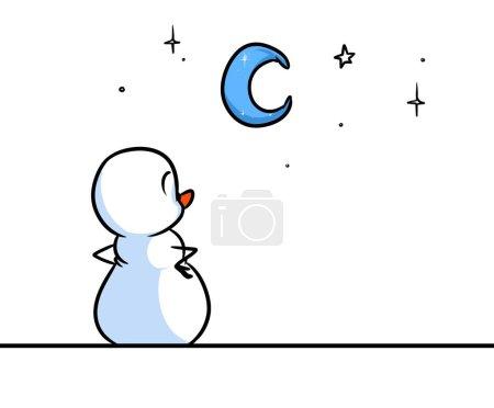 Christmas snowman character see night sky stars cartoon