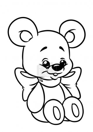 Photo pour Bow funny Bear page caricature Illustrations à colorier - image libre de droit