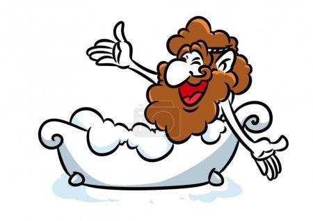 Photo for Archimedes eureka bathroom cartoon illustration - Royalty Free Image