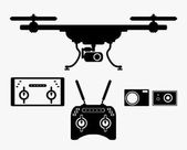 Silhouette drones with remote control Drones for aerial filming  eps 10 vector illustration