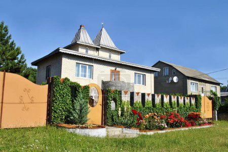 Photo for Beautiful private house on blue sky background - Royalty Free Image