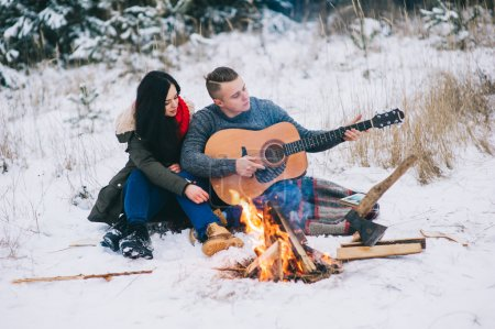 loving couple on winter day