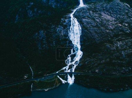mountain Langfoss waterfall on slope