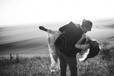 loving couple in mountains