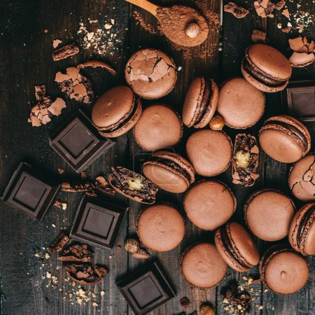 Photo for Sweet chocolate french macarons - Royalty Free Image