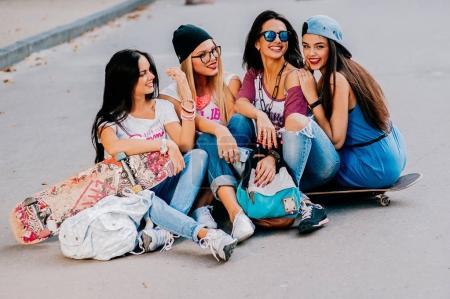 four hipster girls