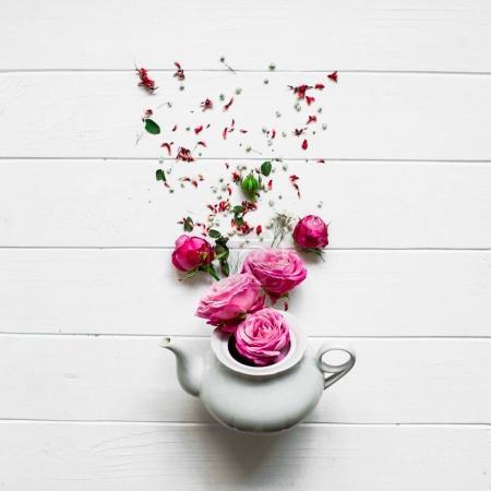white tea and flowers