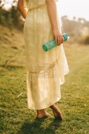 girl walks on nature