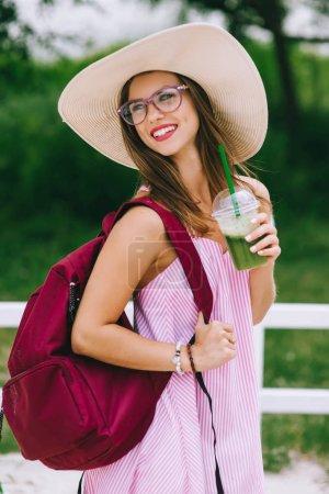 girl drinks fresh juice