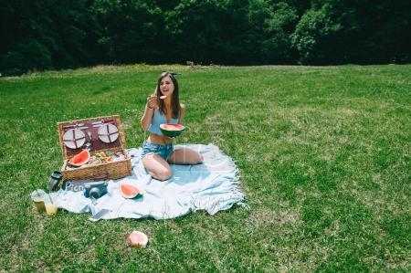 young  woman on a picnic