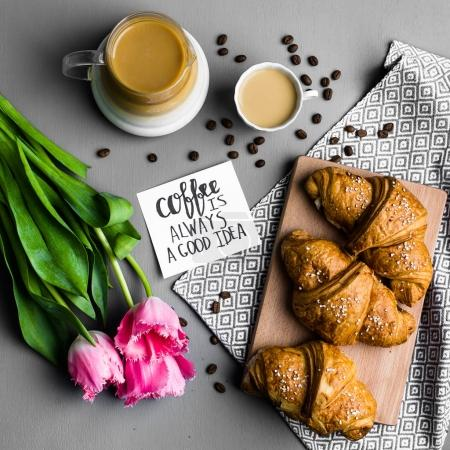 croissants, cup of coffee