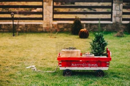 cart with Christmas objects